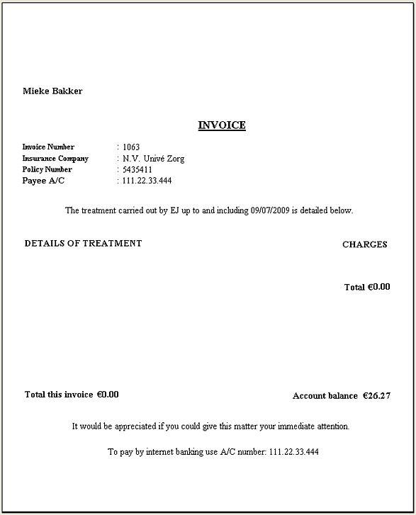 Print a Single Patient Invoice