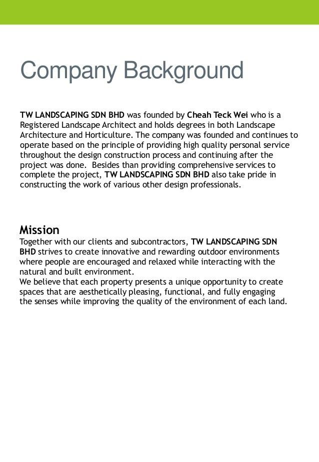 Company profile tw landscaping