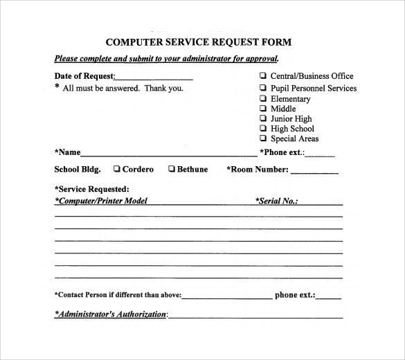Computer Service Request Form. Free Proposal Forms Free Investment ...