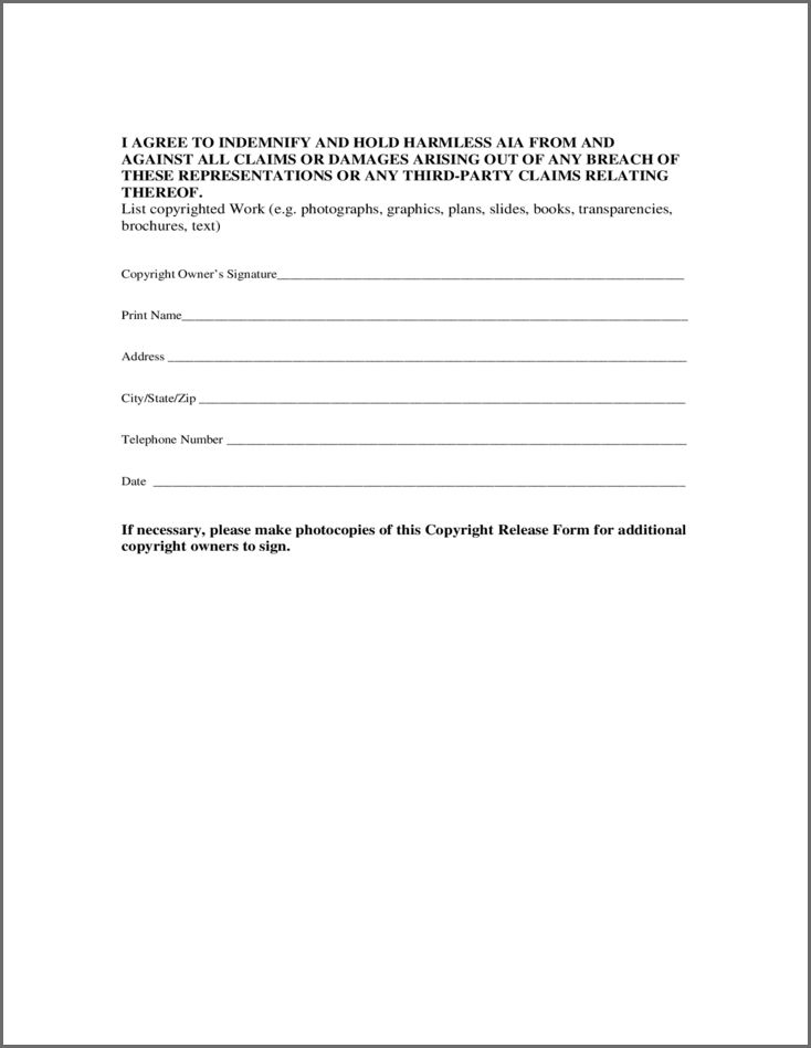 PHOTO COPYRIGHT RELEASE FORM | Bidproposalform.com
