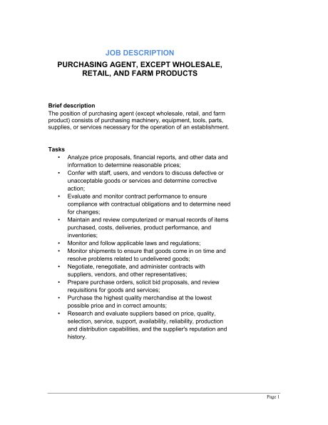 Purchasing Agent (General) Job Description - Template & Sample ...