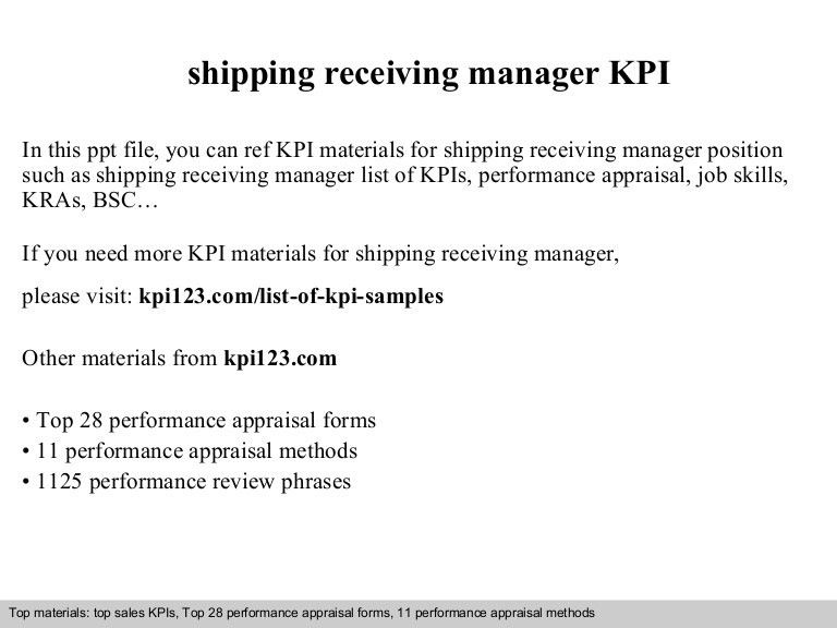 Shipping receiving manager kpi
