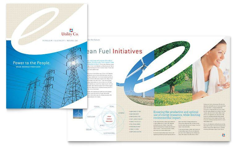 Utility & Energy Company Brochure Template - Word & Publisher