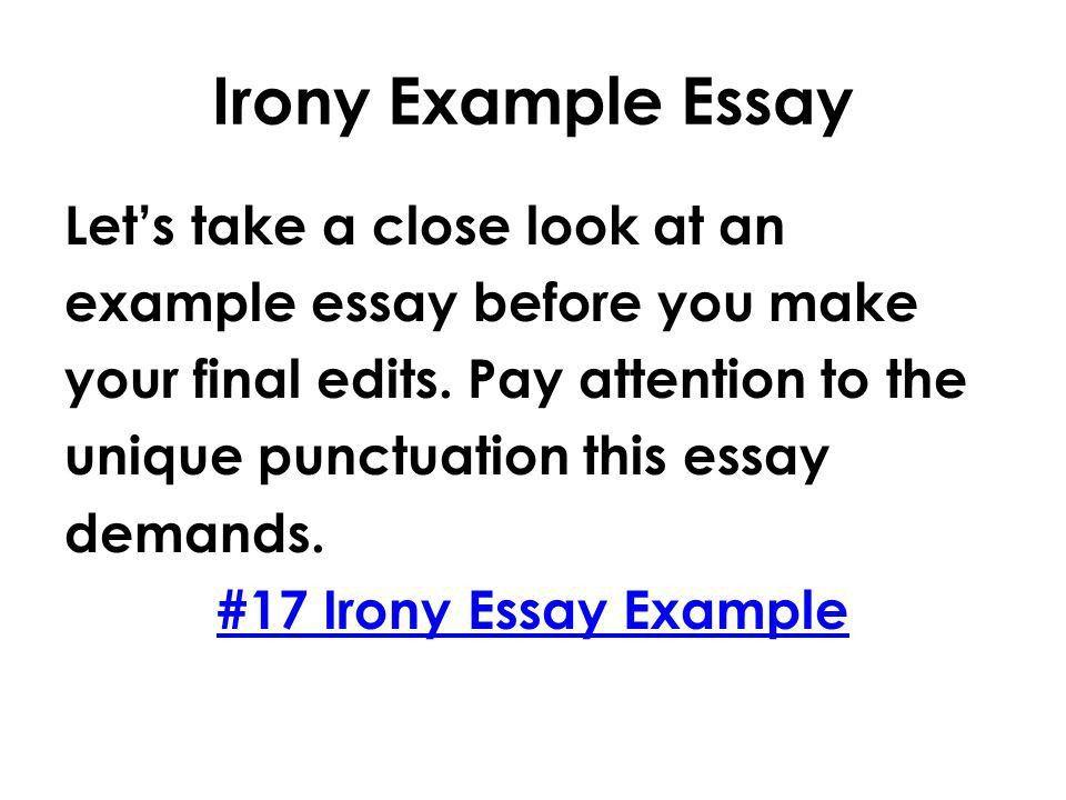 English 11 Writing/Communication Mr. Rinka Lesson #17 Irony ...