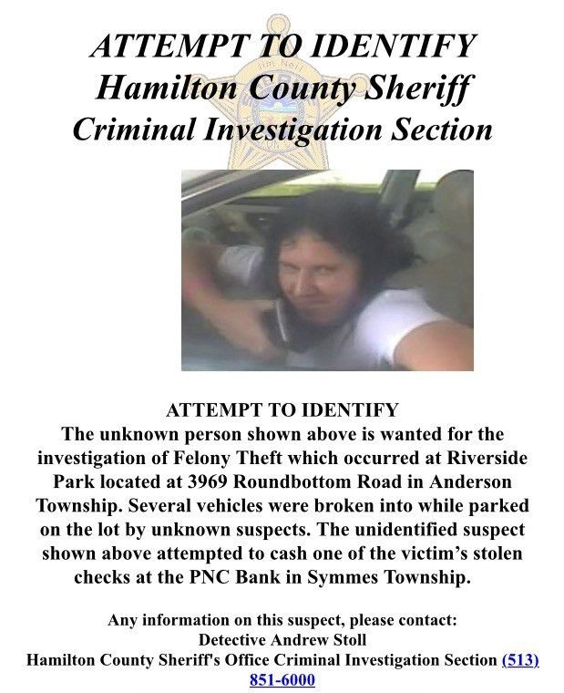 Attempt to identify wanted person - Anderson Township Park District