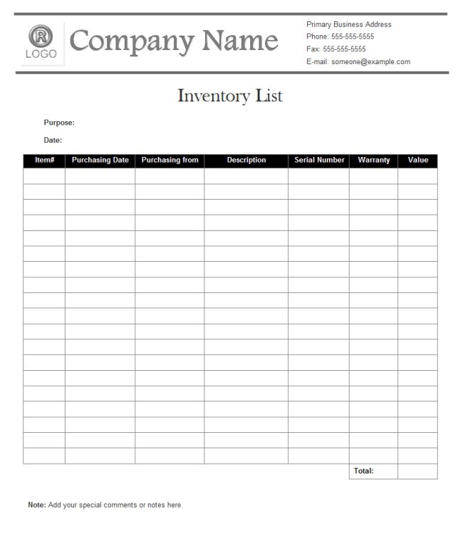 Inventory List Examples - Free Download