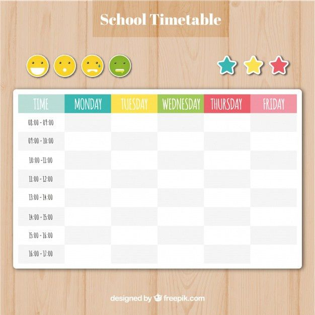 School timetable template with smilies and stars Vector | Free ...