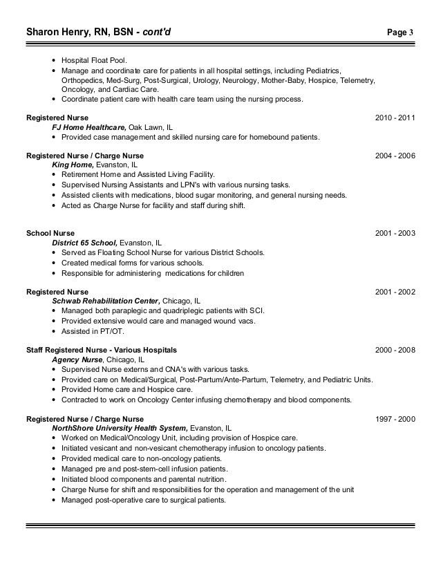 Rn med surg resume examples