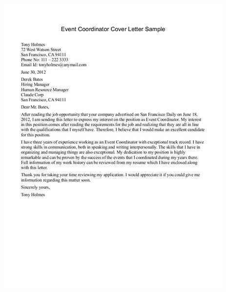 Cover Letter Examples Event Coordinator for Coordinator Cover ...