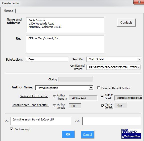 Legal Correspondence Templates - Microsoft Word | Word Automation