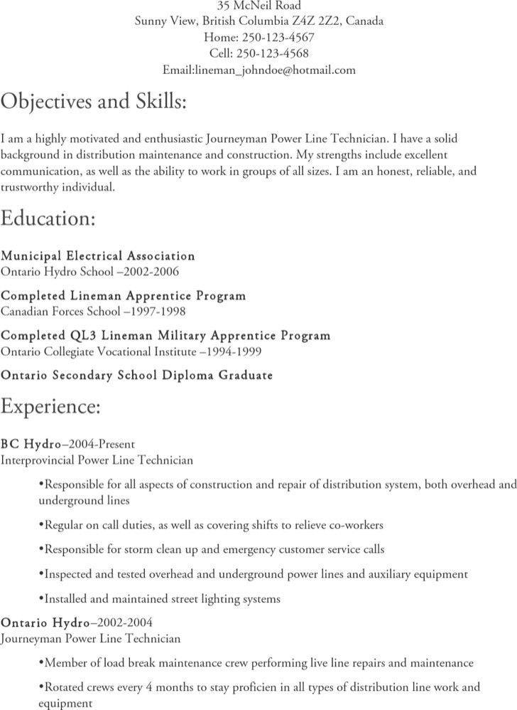 Lineman Apprentice Sample Resume Professional Lineman Apprentice - powerline worker sample resume