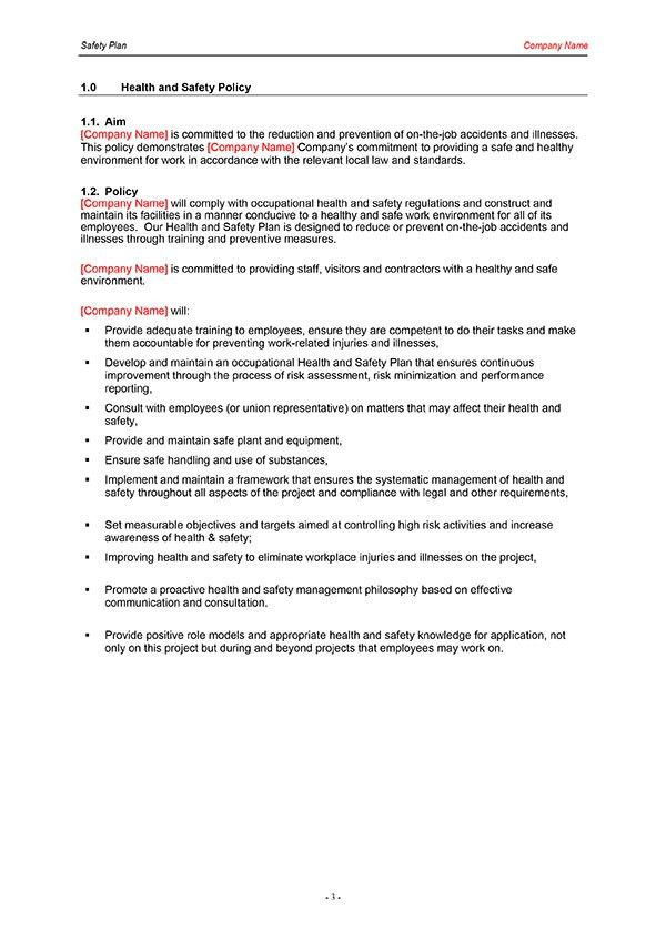 Safety Plan Template | Download Now | Digital Documents Direct