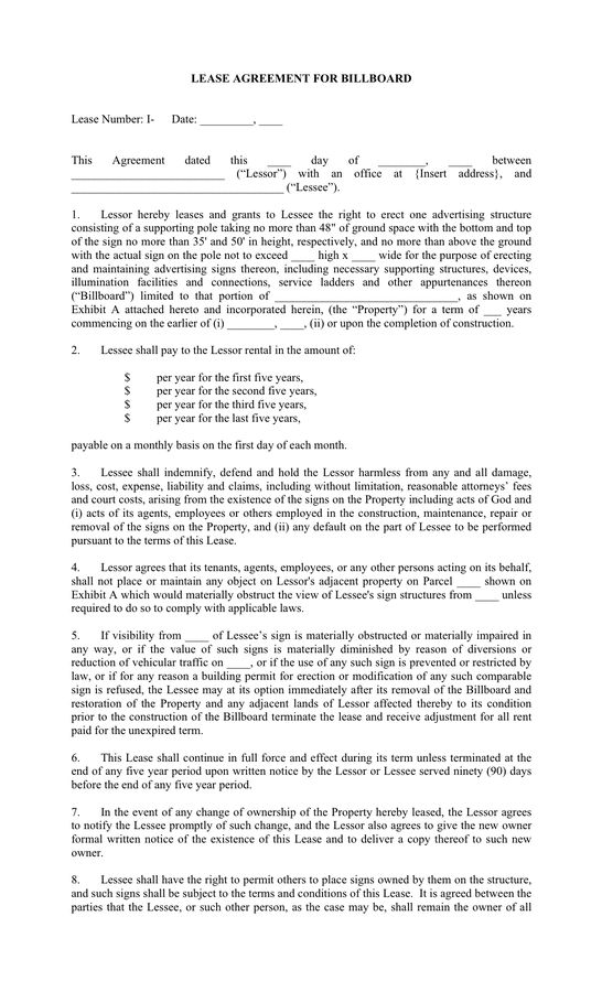 Contents Commercial Lease Agreement Sample. Template Lease Sample .
