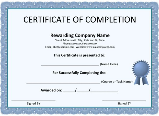 Printable Word Certificate Completion Templates  Certificate Of Completion Free Template