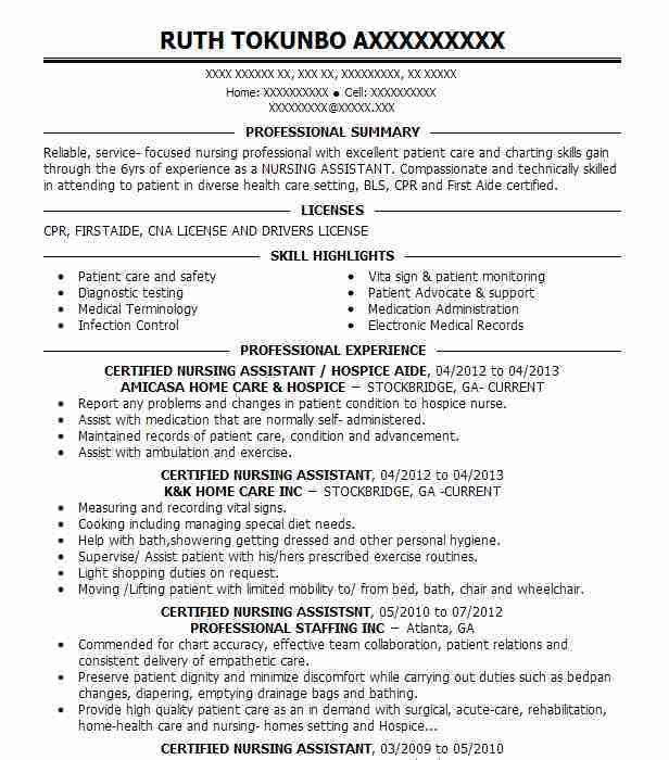 Best Nursing Aide And Assistant Resume Example | LiveCareer