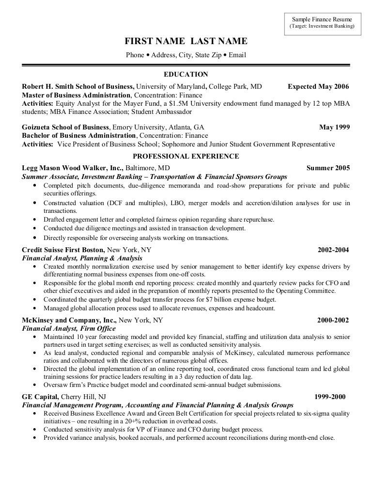 Sample Resume Investment Banking 9 Investment Banker Resume ...
