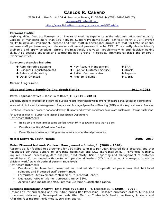 Download Contract Administration Sample Resume ...