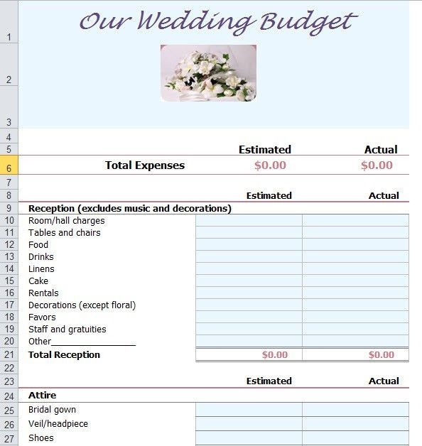 Wedding Budget Template Excel | Budget Wedding | Pinterest ...