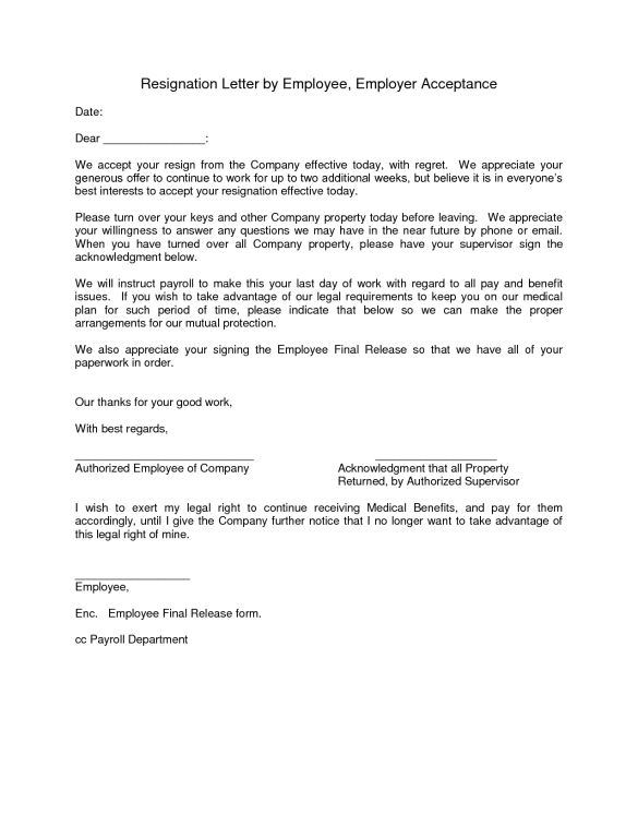Resignation Letter By Employee Employer Acceptance : Vntask.com