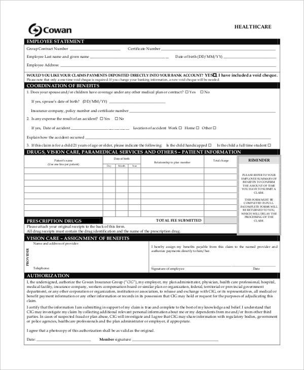 Sample Health Insurance Form - 9+ Free Documents in PDF
