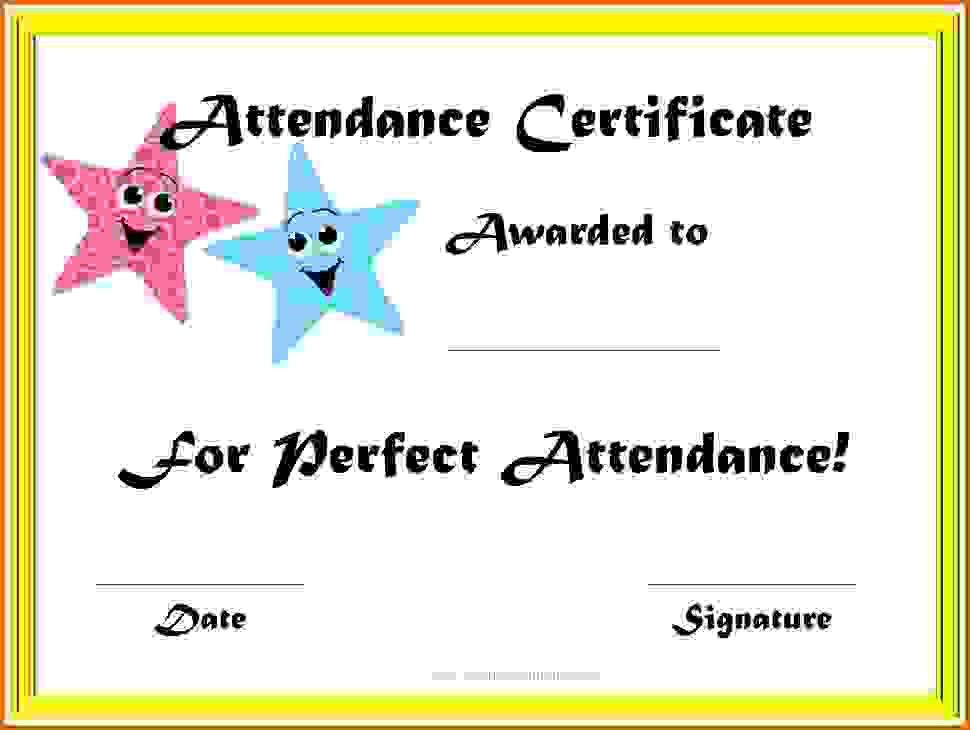 perfect attendance certificate templateReference Letters Words ...