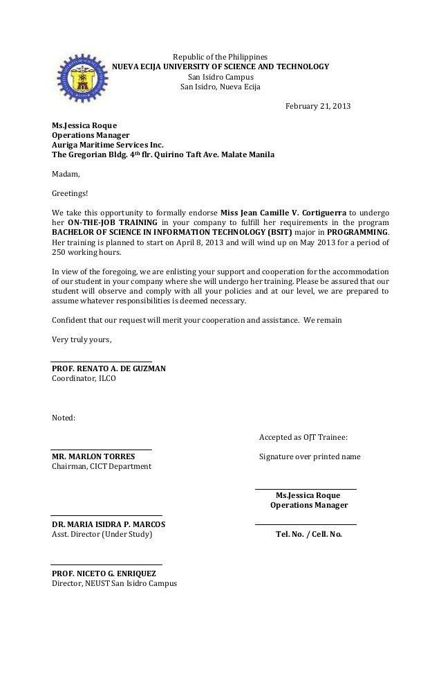 Document Endorsement Letter | Resume Job Description List