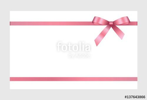 Gift Card With Pink Ribbon And A Bow on white background. Gift ...