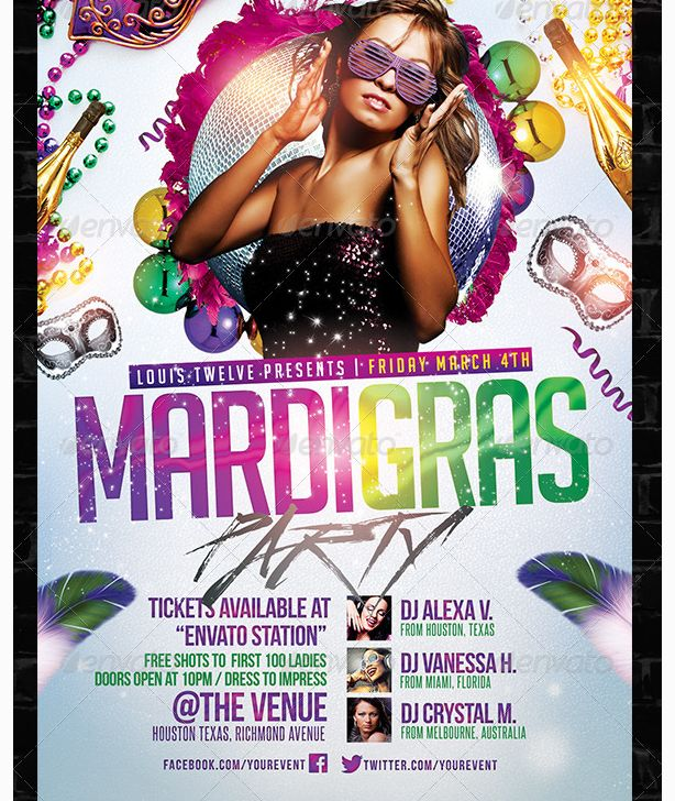 Mardi Gras Carnival Party Flyer Template - Party Flyer Templates ...