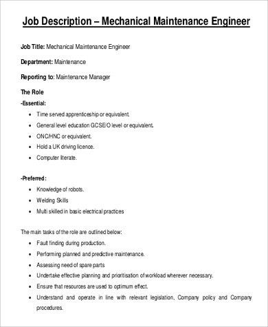 Electrical Engineer Job Description. Job Description Electrical ...