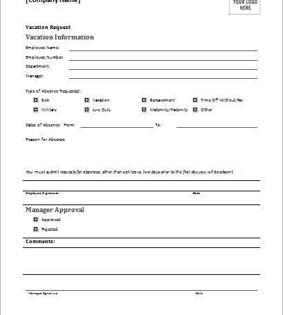 vacation request form | Document Hub