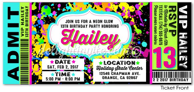 VIP Ticket Neon Glow Birthday Party Invitation VIP ticket birthday ...