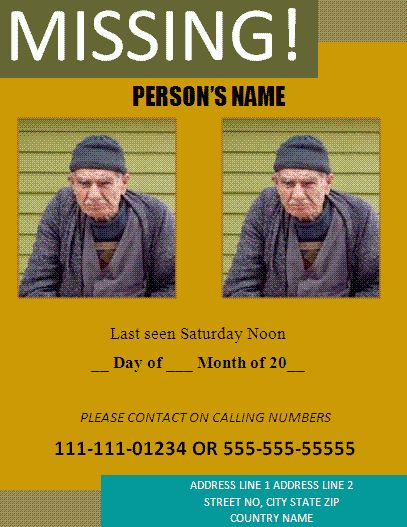 Missing Person Poster Template | Free Business Templates