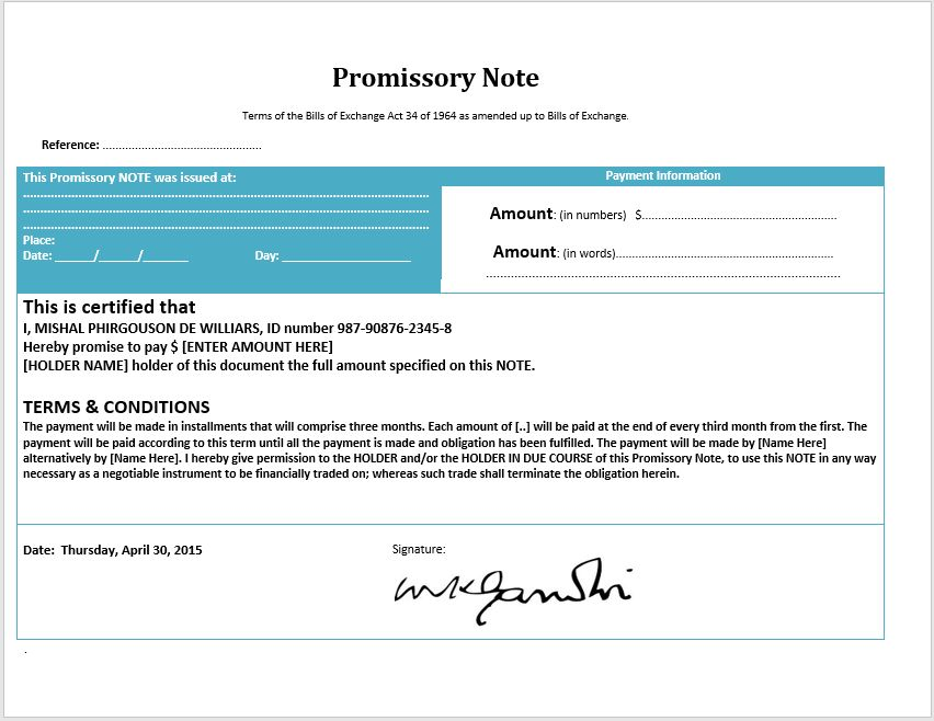 43 Free Promissory Note Samples & Templates (MS Word and PDFs ...