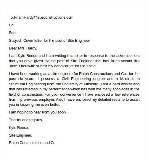 Format Email Cover Letter