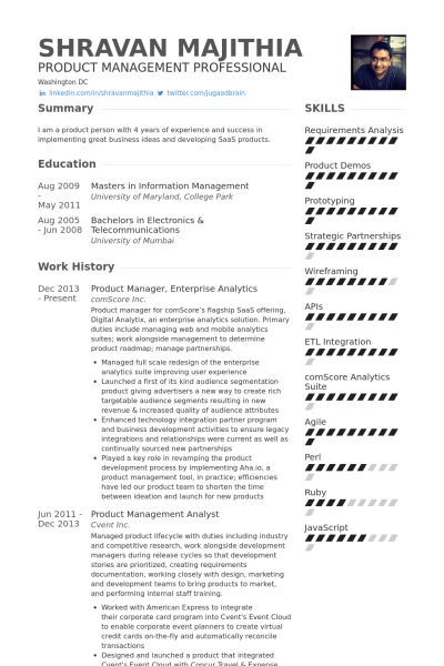 Product Manager Resume samples - VisualCV resume samples database