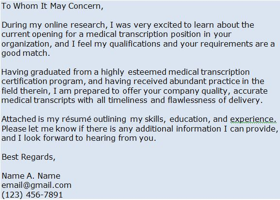 Medical Transcription Cover Letter Example | Freebie Finding Mom