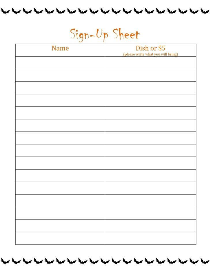 Potluck Signup Sheet Template | HAISUME