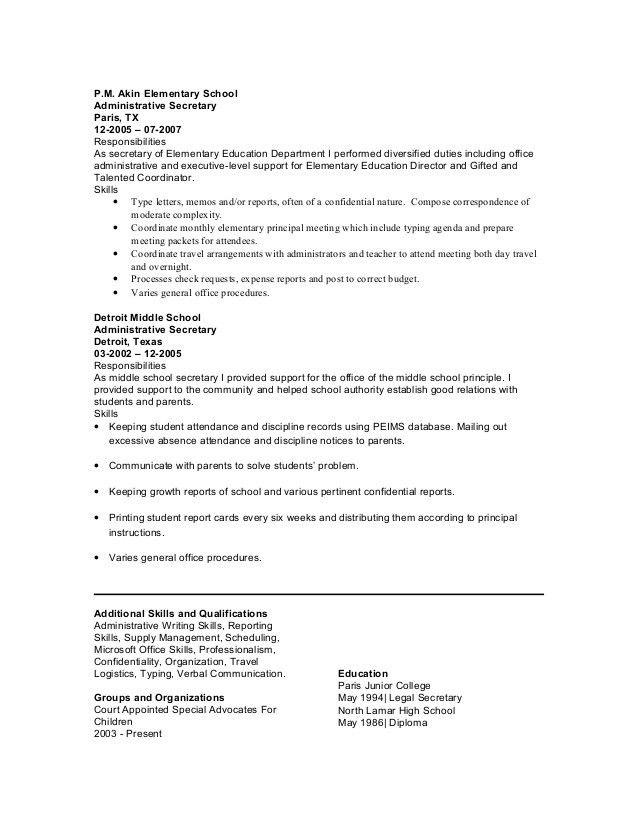 School Secretary Resume | berathen.Com