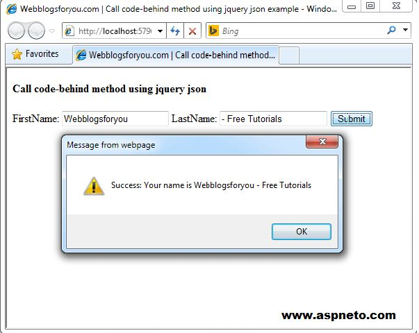 Call Server-side Function Using jQuery Ajax Call