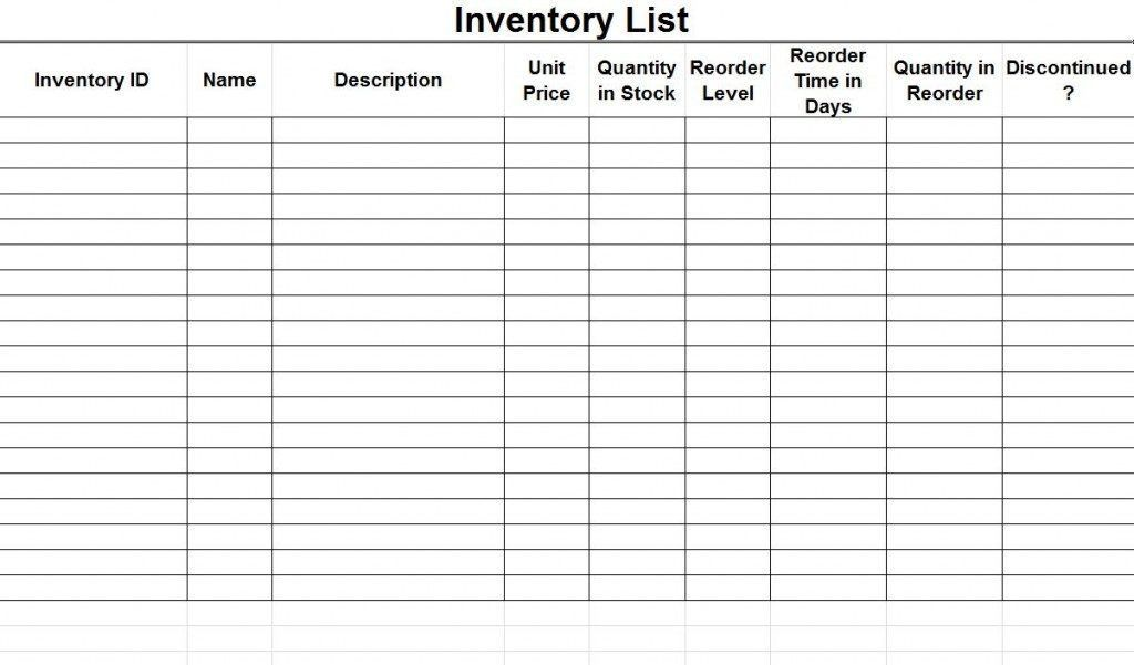 Excellent inventory checklist template sample : Helloalive
