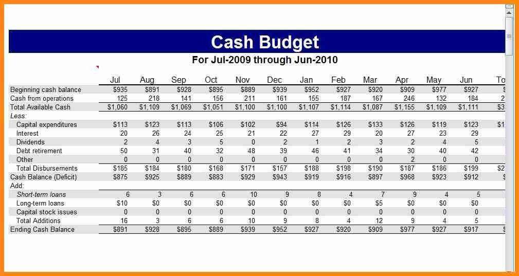 8+ cash budget example pdf   model resumed
