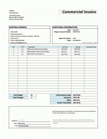 21+ Free Commercial Invoice Template - Word Excel Formats