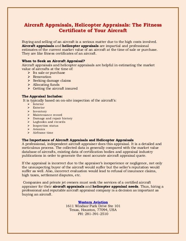 Aircraft Appraisals, Helicopter Appraisals: The Fitness Certificate o…
