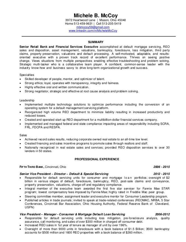 Michele B McCoy - Default Servicing Resume 6-2015