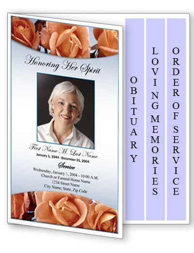 Funeral Program Template | 4 Page Graduated Memorial Roses