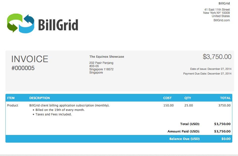 Beautiful Professional Custom Invoices | BillGrid.com Blog