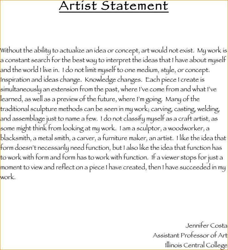 11+ artist statement template   academic resume template