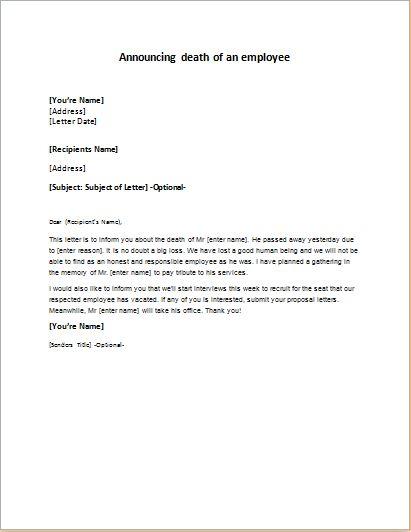 Employee Death Announcement Letter | writeletter2.com