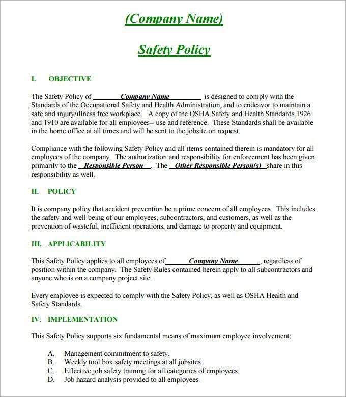 Safety Plan Template. Safety Plan Template Policy And Introduction ...