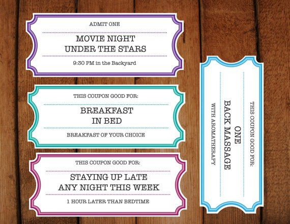 Printable Coupons / Tickets / Vouchers DIY Printable
